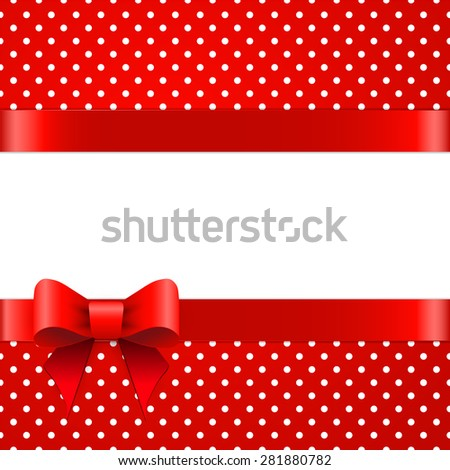 Bright red polka dot pattern with red gift bow - stock photo
