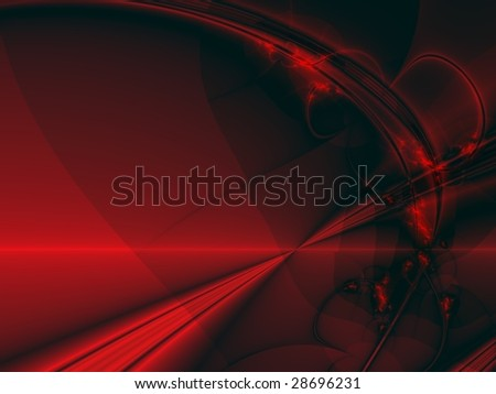 Bright red rays on black background, computer-generated fractal image - stock photo