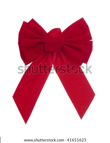 Bright red velvet bow decoration for the holidays