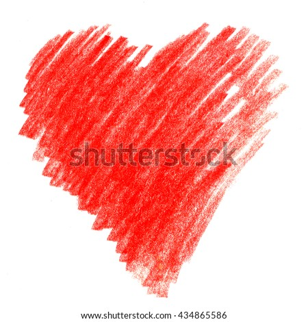 Bright Red watercolor crayon hand drawn strokes spot background.  Hatching colored pencil in the shape of a heart - stock photo