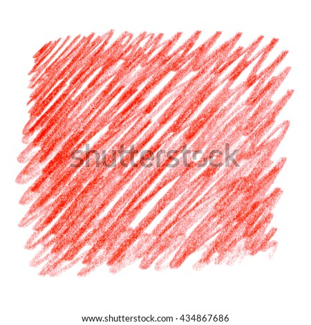 Bright Red watercolor crayon hand drawn strokes spot background. Set of colorful crayon strokes isolated over the white background, colorful crayon spot. Hatching colored pencil. - stock photo