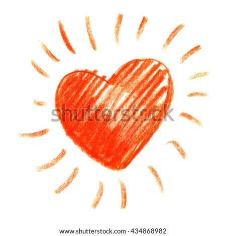 Bright Red watercolor pencil hand drawn spot in the shape of a heart. Set of colorful crayon strokes isolated over the white background, colorful crayon spot. Hatching colored pencil. - stock photo