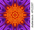 Bright reddish orange kaleidoscope on purple background. - stock photo