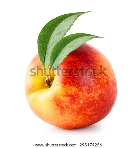 Bright ripe nectarine with green leaves isolated on white background