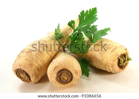bright root parsley with fresh smooth parsley on a white background - stock photo