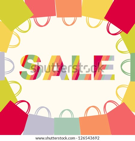 Bright Sale Poster With Bags, Isolated On White Background - stock photo