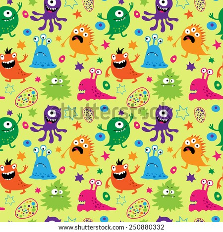 Bright seamless pattern with a aliens - stock photo