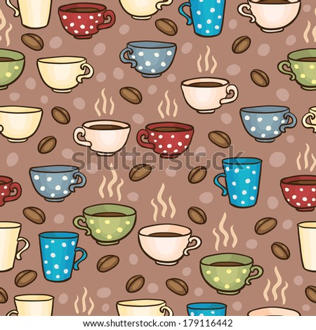 Bright seamless pattern with coffee mugs and cups - stock photo