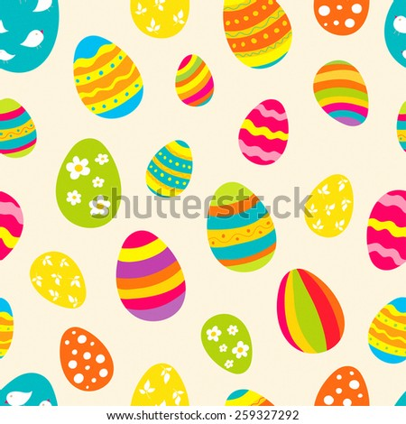 Bright seamless pattern with Easter eggs. Ideal for celebration card, wrapping paper, textile, wallpaper, web pages background, scrap booking