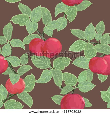 Bright seamless texture with ripe red apples - stock photo