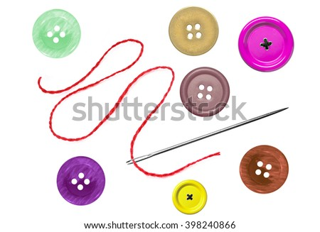 bright sewing buttons and needle with thread isolated on white - stock photo