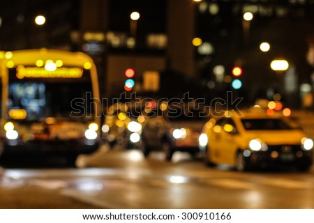 Bright Shining Blurred City, Building, Street & Taxi Lights At Night Time In The City Of Chicago, Illinois  - stock photo