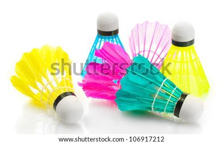 bright shuttlecocks isolated on white - stock photo
