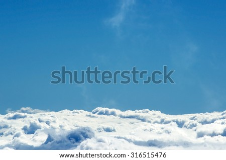 Bright sky and Clouds, a view from top of mountain