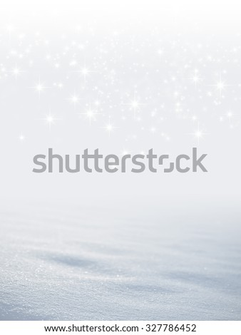 Bright snow background with star lights raining down - stock photo
