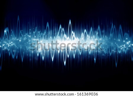 bright sound wave on a dark blue background - stock photo