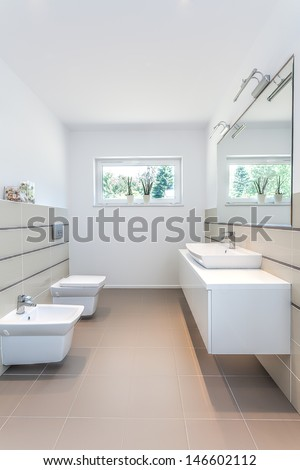 Bright space - a white rest room with a toilet, a sink and a bidet - stock photo