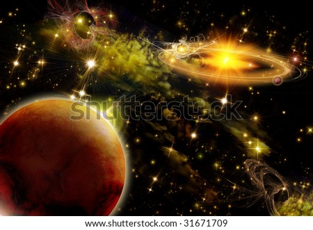 Bright space, flash not far away from a planet - stock photo