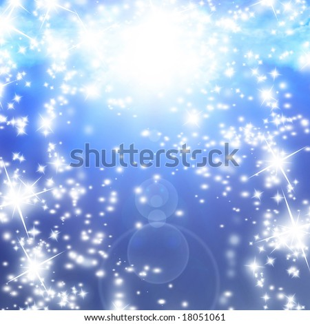 bright sparkles on a soft blue background