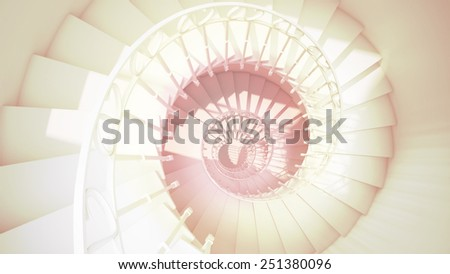 Bright spiral stairs with rails in sun light sepia color abstract 3d interior - stock photo