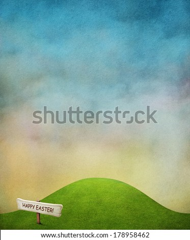 Bright spring background with green lawn and blue sky.  - stock photo