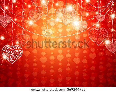 Bright St.valentine and Wedding Holiday Background With Decorative Hearts and Copyspace - stock photo