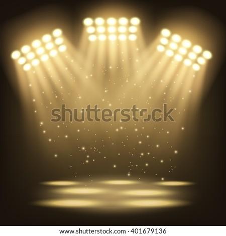 Bright stadium spotlights background - stock photo