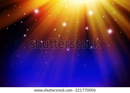 Bright star rays - stock photo