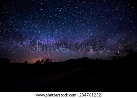 Bright Starry Night with beautiful Milky-way - stock photo