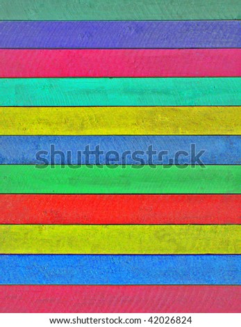 Bright Stripes Dyed into Wood - stock photo