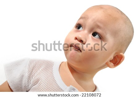 bright studio portrait of one year old adorable asian chinese baby