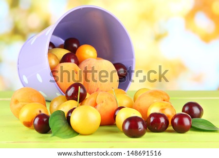 Bright summer fruits in pail on wooden table on natural background