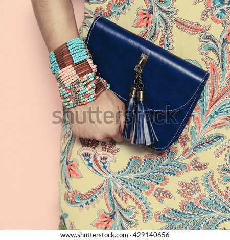 Bright Summer  Oriental Pattern Fashion Jewelery and Accessories Lady. - stock photo