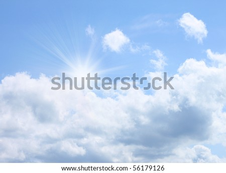 Bright summer sky with a sun - stock photo