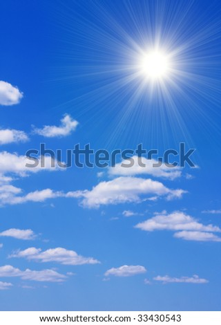 Bright sun in the blue sky