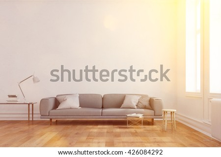 Bright sunlight in living room with sofa in front of a wall (3D Rendering) - stock photo