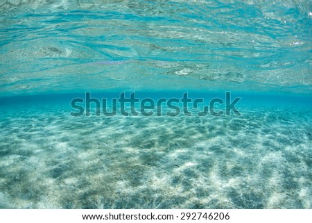 Bright sunlight shines through clear, tropical water onto a white sand seafloor. - stock photo