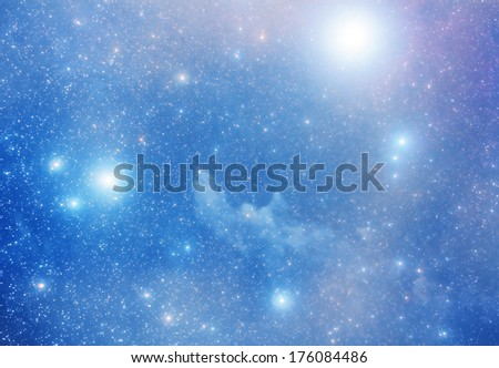 Bright supernova remnant nebula with thousands stars.  - stock photo