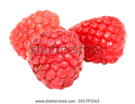 bright sweet fresh raspberries on white background