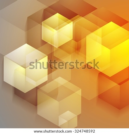 Bright tech geometric background with cubes - stock photo