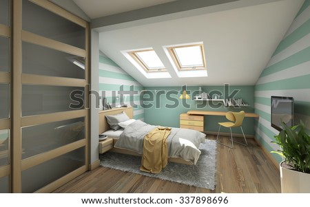 Bright Teenager's Room On Attic 3d Rendering - stock photo