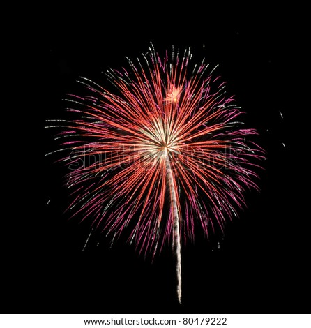 Bright 4th of July fireworks light up the sky over Marblehead, Massachusetts - stock photo