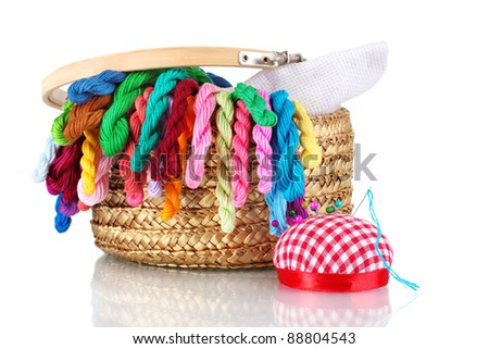 bright threads for needlework and fabric in a wicker basket