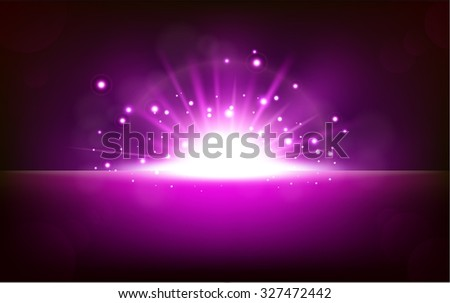 Bright violet light rising from the black horizon - stock photo