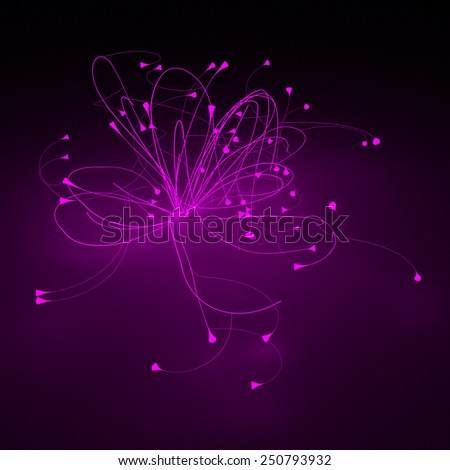 Bright violet lines neon background - stock photo