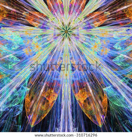 Bright vivid blue,orange,pink,yellow exploding flower/star fractal background with a detailed decorative pattern, all in high resolution. - stock photo