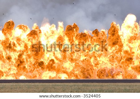 Bright wall of fire - stock photo