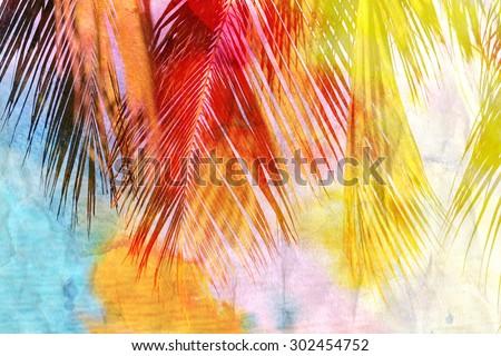 Bright watercolor retro palm leaf - stock photo