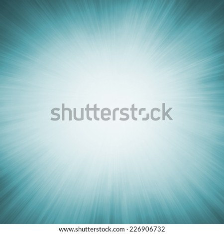 bright white sunburst design on teal blue background with zoomed in effect border, blank product display background - stock photo