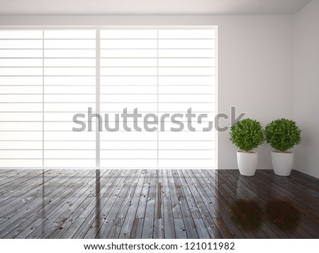 bright window and wooden floor - stock photo